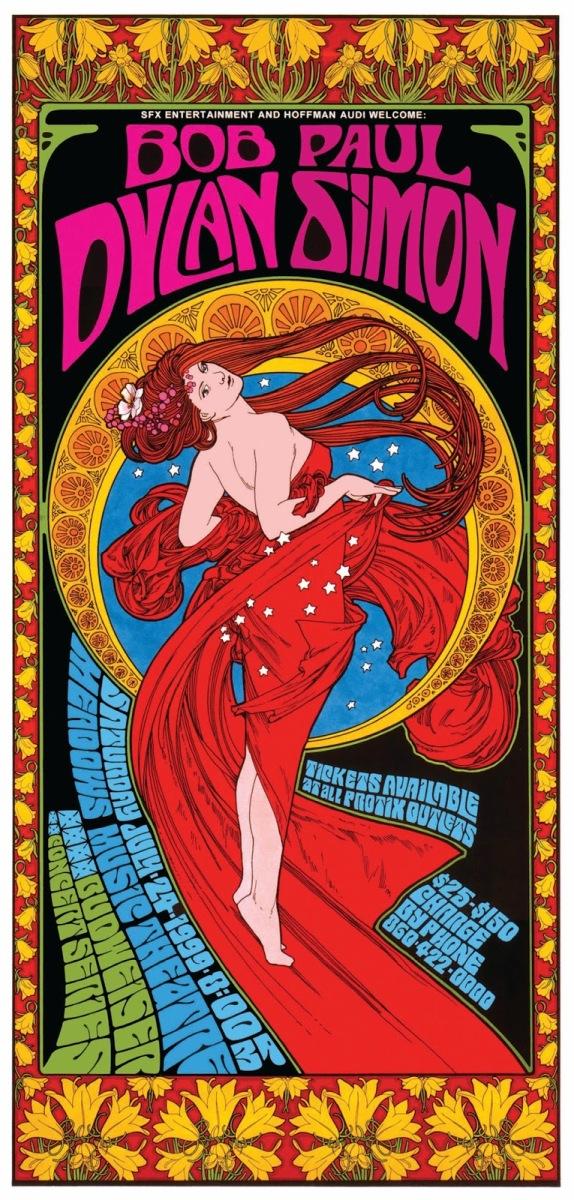 Los carteles de conciertos de Bob Dylan diseñados por Bob Masse